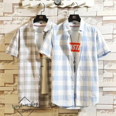 シャツ メンズ カジュアルシャツ トップス リネンシャツ  チェック柄 半袖 5分袖 シャツ  夏 夏服