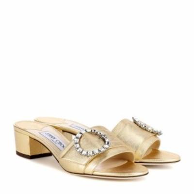 ジミー チュウ Jimmy Choo レディース サンダル・ミュール シューズ・靴 Granger 35 metallic leather slides Gold