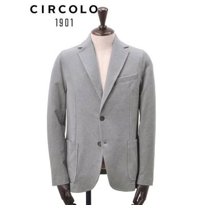 チルコロ  CIRCOLO 1901 国内正規品 メンズ イージージャケット  2つボタンシングル ジャージー コットンスウェット ライトグレー でらでら 公式ブランド
