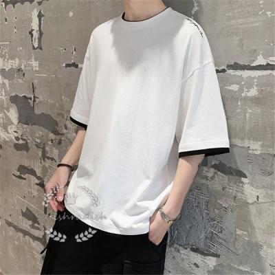 Tシャツ メンズ カジュアル クールネック 半袖シャツ ゆったり目 コットン 夏物 丸首 大きいサイズ 無地 お兄系 着心地よい