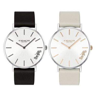 【ペアボックス付】コーチ ペアウォッチ ペリー おそろい 同サイズ 革 時計 シンプル スリム ブラック グレー 1450311514503116 あすつく 腕時計