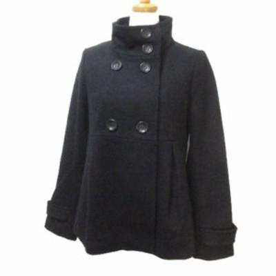 【中古】コントワーデコトニエ COMPTOIR DES COTONNIERS コート ショート ダブル スタンドカラー 黒 ブラック ウール 36 Sサイズ相当 X