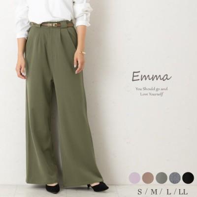 (emma/エマ)女性らしく、しなやかで、美しく、脚長を演出します きっと気に入るワイドパンツ。/レディース モスグリーン