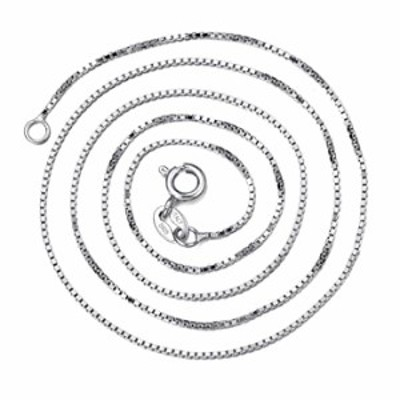 """Navachi 925 Sterling Silver 18k White Gold Plated 0.6mm Box Italian Crafted Necklace Chain (Available in Length 18"""")"""