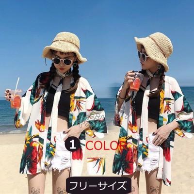 カーディガン UVカット 薄手 前開き 七分袖 プリント トップス カジュアル 紫外線対策 日焼け止め夏 冷房対策 ハワイ 旅行 リゾート ビーチ お出かけ ゆったり