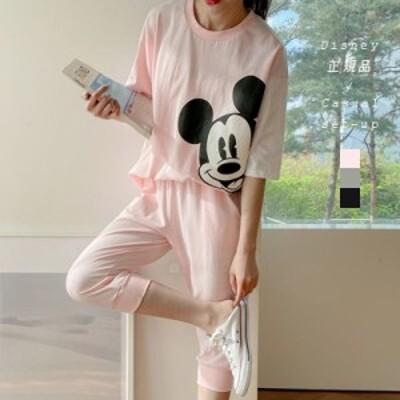 『Disney正規品!』セットアップ Tシャツ ミッキーマウス 7分丈 パンツ ルームウェア ゆったり 春 夏 ダボダボ(mmick016)