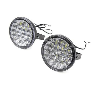 uxcell 昼間走行用ライト カーフォグランプ ヘッドライト ホワイトLED 円形 18 SMD 2個入り