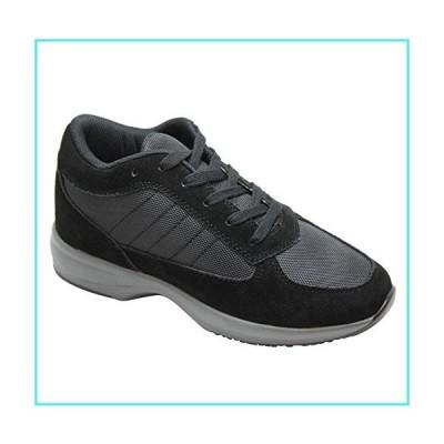【新品】Calden Men's Invisible Height Increasing Elevator Shoes - Black Suede Leather/Mesh Lightweight Trainer Sneakers - 3 Inches Taller - FD014