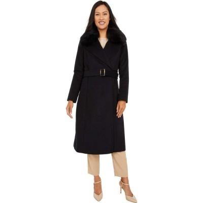 コールハーン Cole Haan レディース コート ラップコート アウター Slick Wool Wrap Coat with Faux Fox Collar Black