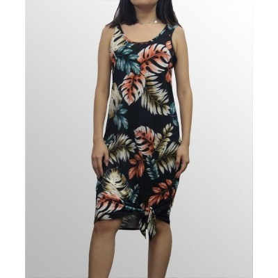 コイン1804 レディース ワンピース トップス Womens Botanical Print Tied Hem Dress