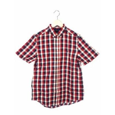 【中古】ラルフローレン RALPH LAUREN ボタンダウン シャツ 半袖 チェック XL/TG (18-20) レッド 赤 ネイビー 紺 白
