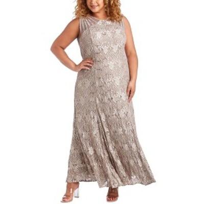 アールアンドエムリチャーズ レディース ワンピース トップス Plus Size Sequin Lace Gown Champagne