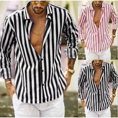 シャツ メンズ 長袖 トップス ブラウス ストライプシャツ 開襟 大きいサイズ カジュアル 春 夏 秋 冬