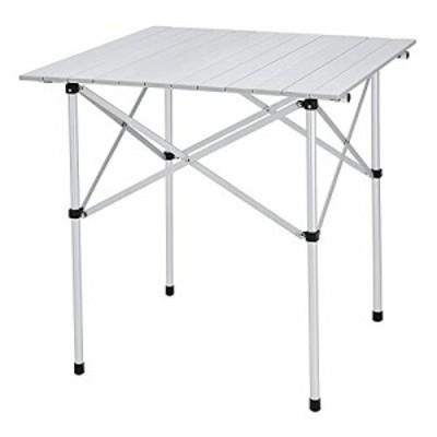 FUNDANGO キャンプテーブル アルミ ロールテーブル 70×70×70 折りたたみ バーベキューテーブル コンパクト ピクニック BBQ 超軽量