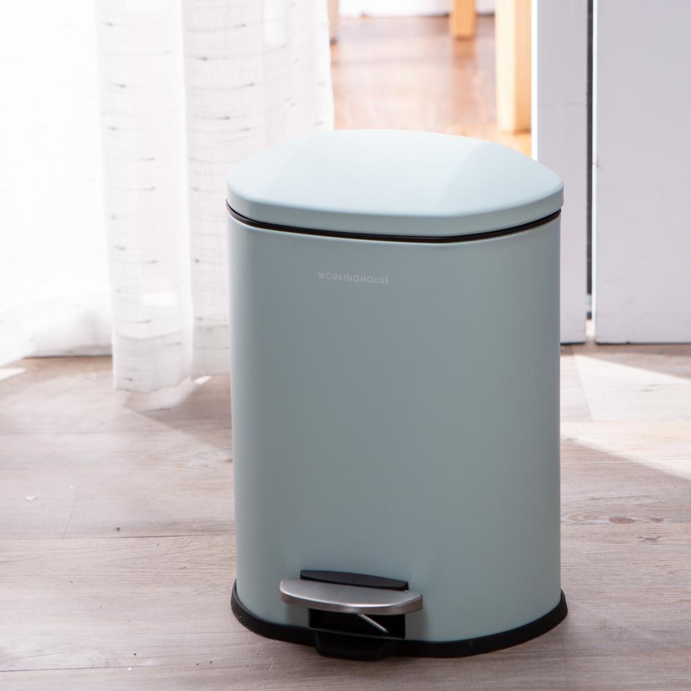 天空藍緩降踏式垃圾桶5L