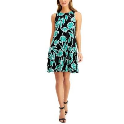 カスパー ワンピース トップス レディース Printed Swing Dress Jade Green Multi