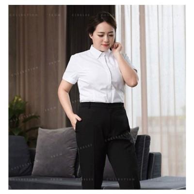 レディースシャツ大きいサイズブラウスシンプルオフィスビジネスカジュアルOL半袖長袖通勤通学夏4142