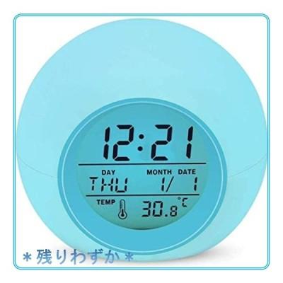 Lypumso 目覚まし時計 アラーム デジタル LED7色バックライト スヌーズ機能付き 大音量 カレンダー付 気温表示