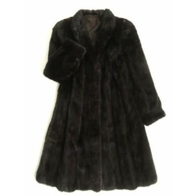 毛並み美品▼BLACKGLAMA MINK ブラックグラマミンク 裏地ペイズリー柄 本毛皮ロングコート ダークブラウン 毛質艶やか・柔らか◎
