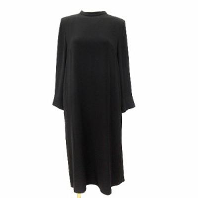 【中古】インディヴィ INDIVI シャツワンピース ロング 長袖 38 黒 ブラック /AU レディース