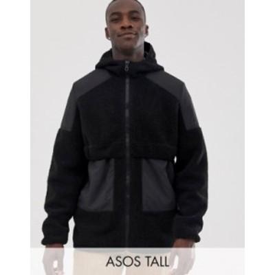 エイソス メンズ ジャケット・ブルゾン アウター ASOS DESIGN Tall teddy zip through jacket with hood Black