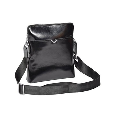 TOP Quality Crossbody Italian Leather Bag Black Latest Zip Top Casual Flight Bag - Flint 並行輸入品