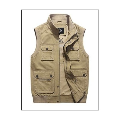 Lentta Mens Casual Solid Outdoor Work Travel Photo Fishing Vest with Pocket(Khaki-XL)[並行輸入品]