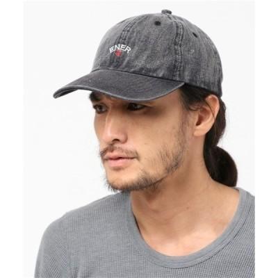 """帽子 キャップ ブラック デニム エンブロイド キャップ """"CROSS"""