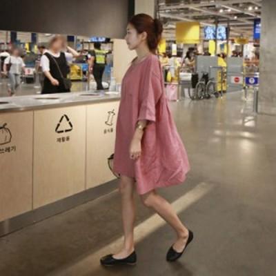レディース ワンピース 夏 大人可愛い チュニック ワンピース 大きいサイズ 半袖 五分袖 夏ワンピース 綿麻 ゆったり 韓国 ピンク