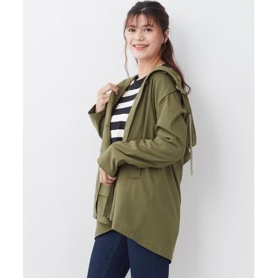 大きいサイズ 驚くほど伸びて柔らかなフード付スプリングコート(撥水加工) ,スマイルランド, コート, plus size coat