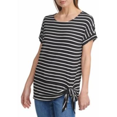 カルバンクライン レディース Tシャツ トップス Short Sleeve Side Tie T-Shirt Black/White