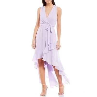 ベルバッジリーミシュカ レディース ワンピース トップス Nyla V-Neck Ruffle Tie Waist Hi-Low Georgette Dress