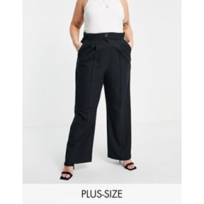 リバーアイランド レディース カジュアルパンツ ボトムス River Island Plus wide leg pleated tailored pants in black BLACK
