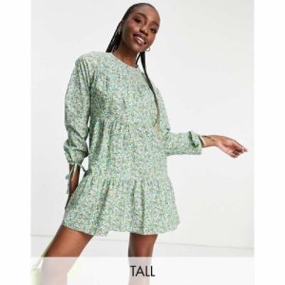 インフルエンス Influence Tall レディース ワンピース ワンピース・ドレス long sleeve printed cotton mini dress in ditsy floral pri
