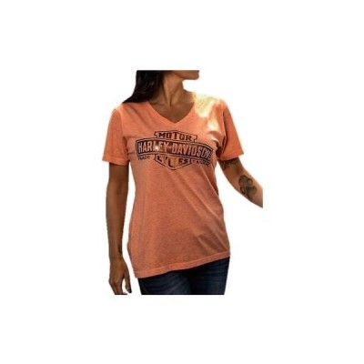 トップス ハーレーダビッドソン Harley-Davidson Women's Foiled Bar & Shield V-Neck Short Sleeve Tee, Coral
