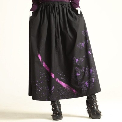 h.NAOTO スカート 蝶々 撥水 和風 和柄服 モード Metal butterfly long skirt