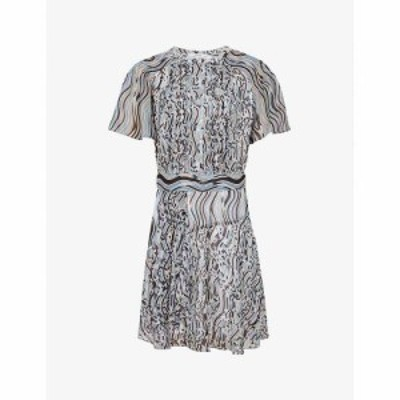 リース REISS レディース ワンピース ワンピース・ドレス Mildred abstract-print woven dress BLUE