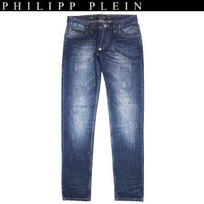 """【送料無料】 フィリッププレイン(PHILIPP PLEIN) メンズ ペイント加工  ジーンズ デニム """"colour flash"""" HM591151 08BB beluga blue 14S"""