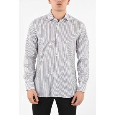 CORNELIANI/コルネリアーニ White メンズ pencil striped spread collar shirt dk