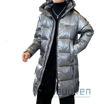 メンズ ダウンジャケット 中綿ダウン ロング丈 ダウンコート 冬用 フード付き 光沢感 ツヤツヤ 耐水性 防風 寒さ対策 アウトドア 日常