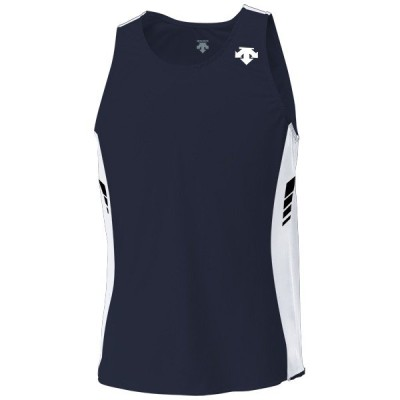 受注生産品:約30日 デサント メンズランニングシャツ ネイビー×ホワイト×ホワイト ORN-4701-NVWW