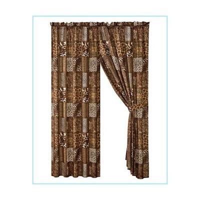 新品4 Piece Jungle Safari Animal Print Window Drapes Curtain Set, Chocolate Brown Leopard Zebra Giraffe Jungle Forest Theme Rod Pocket Pan