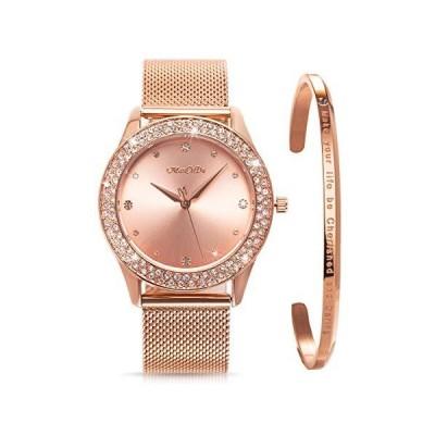 海外取寄品--ManChDa レディース腕時計 クリスタルメッシュ ステンレススチールベルト レディース クォーツ ダイヤモンド クラシック ファッシ