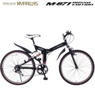 折りたたみATB26インチ自転車 6段変速 Wサス マウンテンバイク フルサス 折畳み 街乗り ブラック MYPALLAS/マイパラス 池商 M-671