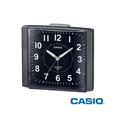 カシオ 置き時計 482 (メタリックブラック) 置時計 目覚まし時計 マイクロライト 電子音アラーム スヌーズアラーム ライト機能