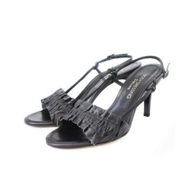 【中古】ボディドレッシングデラックス BODY DRESSING Deluxe サンダル ストラップ レザー 黒 ブラック 23.5 シューズ 靴 レディース 【ベクトル 古着】