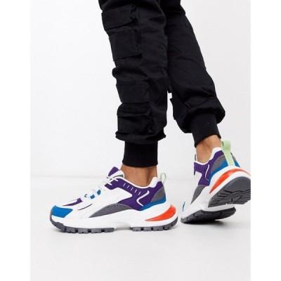 エイソス ASOS DESIGN メンズ スニーカー チャンキーヒール シューズ・靴 trainers in colour pop with chunky sole ホワイト