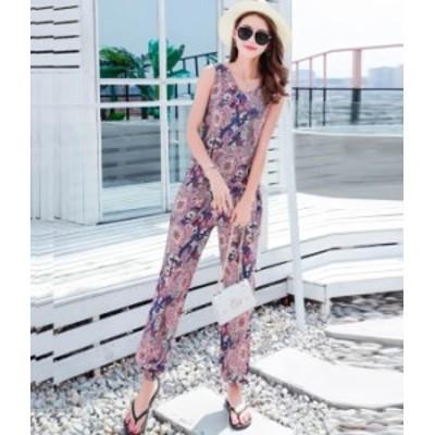 オールインワン セットアップ ロング パンツ 柄物 リゾート 秋物 冬物 最新 レディース ファッション 2020 人気 可愛い 大人