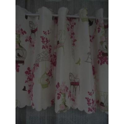 カフェカーテン セシル カフェ  ピンク   幅145×丈90cm