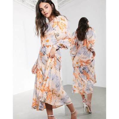 エイソス レディース ワンピース トップス ASOS EDITION midi dress in peach floral palm print Multi